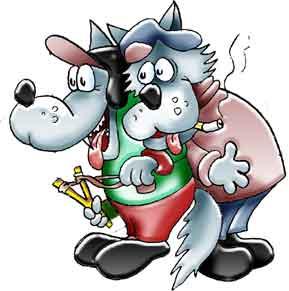 Комикс о позорных волчат. Два хулигана с папиросой и рогаткой.